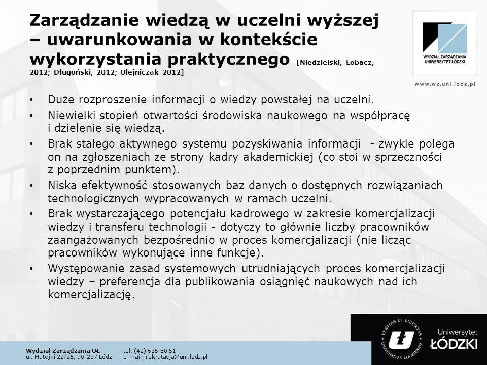 Zarządzanie wiedzą w uczelni wyższej – uwarunkowania w kontekście wykorzystania praktycznego [Niedzielski, Łobacz, 2012; Długoński, 2012; Olejniczak 2012]
